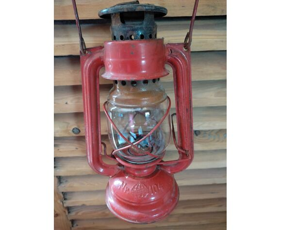Red weathered metal storm lamp nr104 deco retro vintage oil dp0821n04