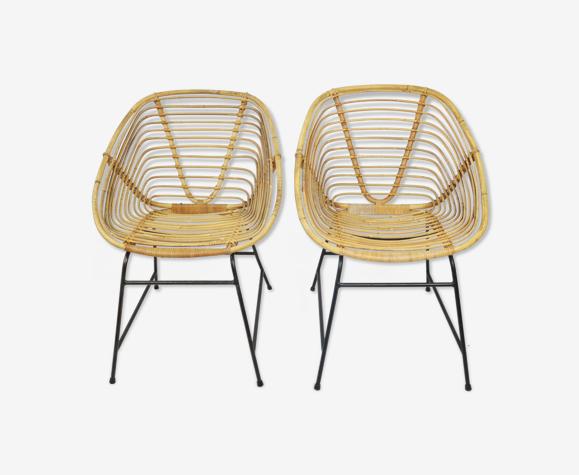 Paire de fauteuils en osier, années 1970