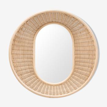 Miroir rond en rotin tressé diamètre 90cm