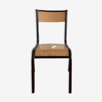 Chaise d'école enfant maternelle vintage en bois et métal marron