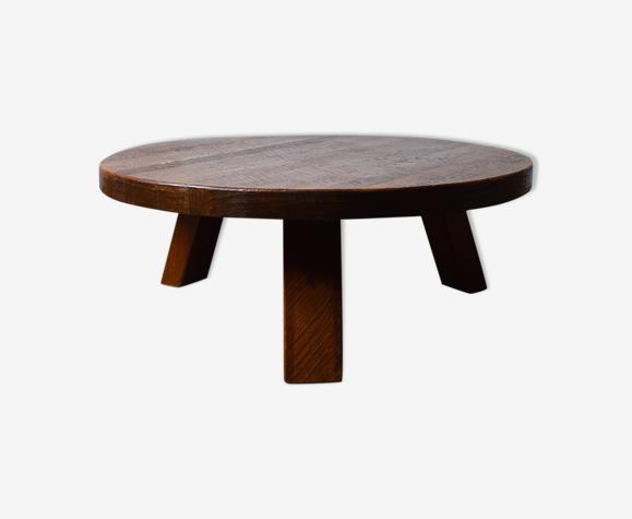 Table basse en chêne Français du milieu du siècle, années 1960