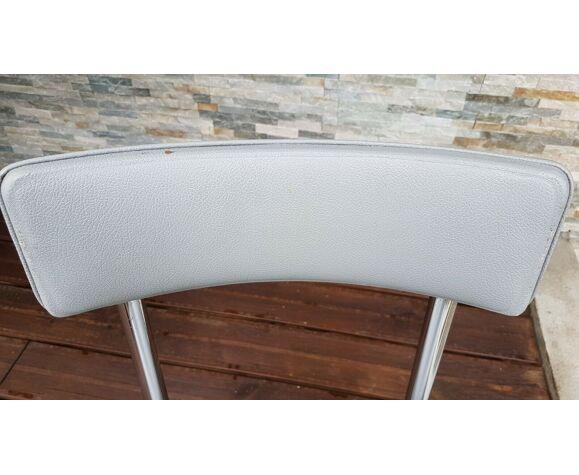 Chaise de bureau années 50 en skaï pieds chromé