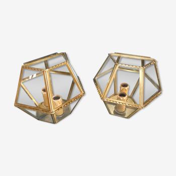 Paire appliques hexagonales verre laiton miroir 1 feux circa 1970 alf