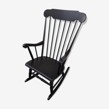 Rocking-chair noire vintage