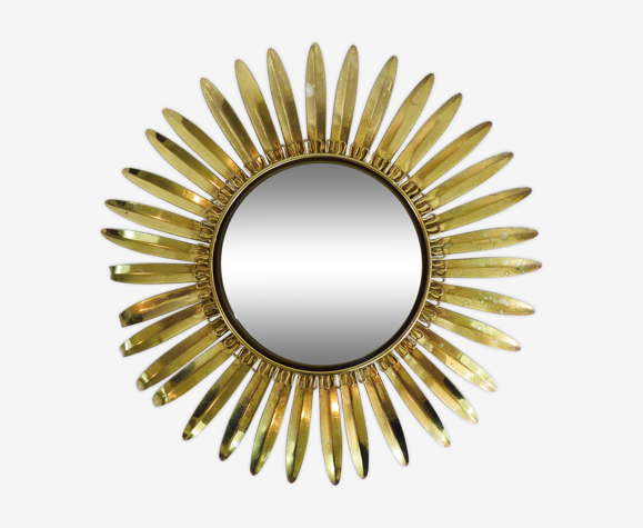 Miroir soleil feuille vintage en métal doré année 70 45cm