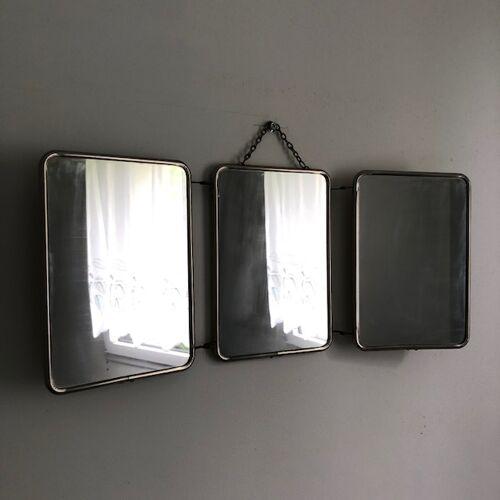 Miroir de barbier triptyque 49x21cm