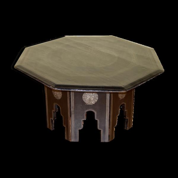 Table basse marocaine en bois laqué noir