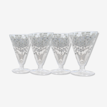 Lot de 4 verres à eau  en verre Art Déco.