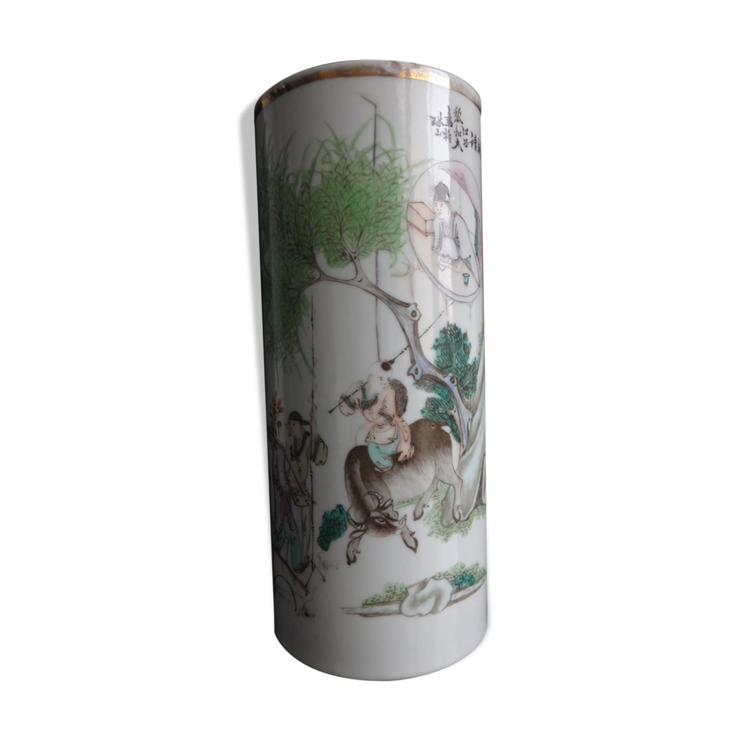 Vase rouleau en porcelaine de Chine famille verte avec poême 28cm XIX