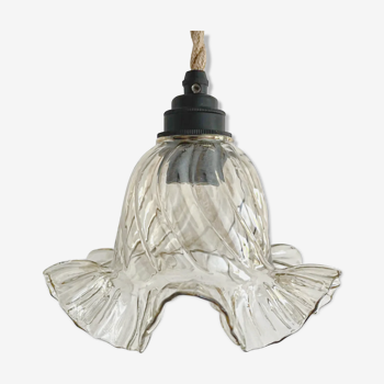 Lampe baladeuse vintage en verre fumé électrifiée à neuf