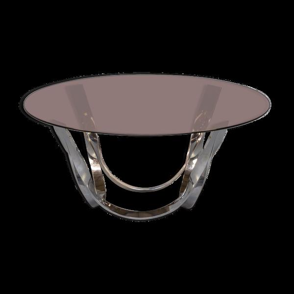 Table basse en laiton et verre Roger Sprunger des années 70 pour Dunbar Furniture