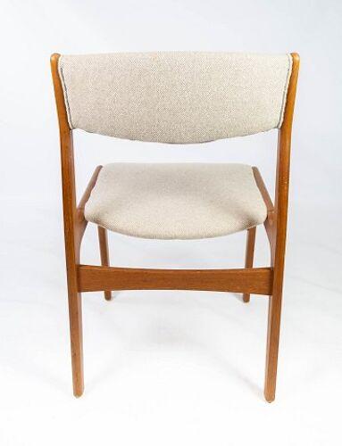 Ensemble de chaises de salle à manger en teck et rembourré de tissu léger, conçu par Erik Buch, années 1960