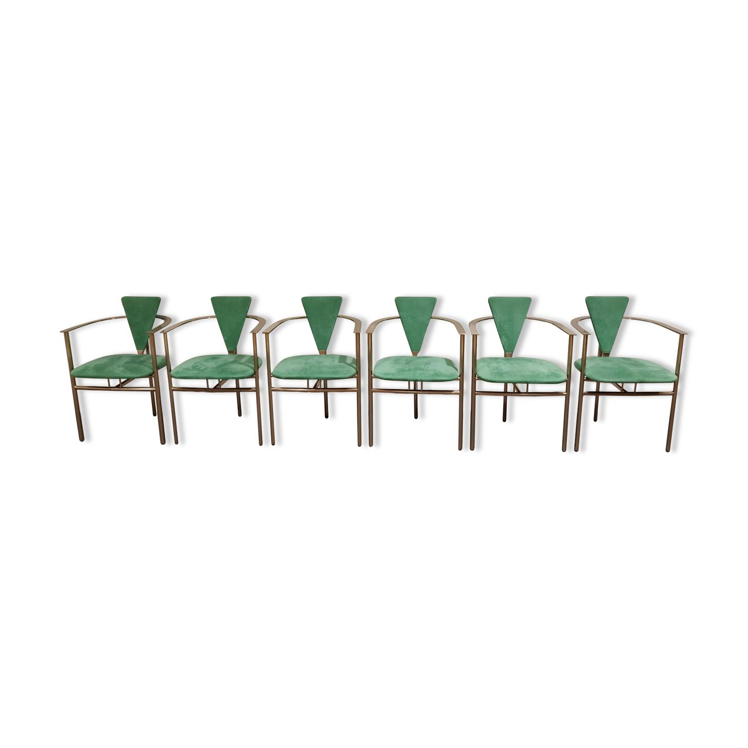 Chaises de salle à manger vintage par Belgo chrom, ensemble de 6 - années 1980