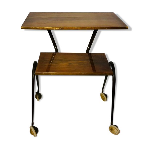 Table double plateaux sur roulettes