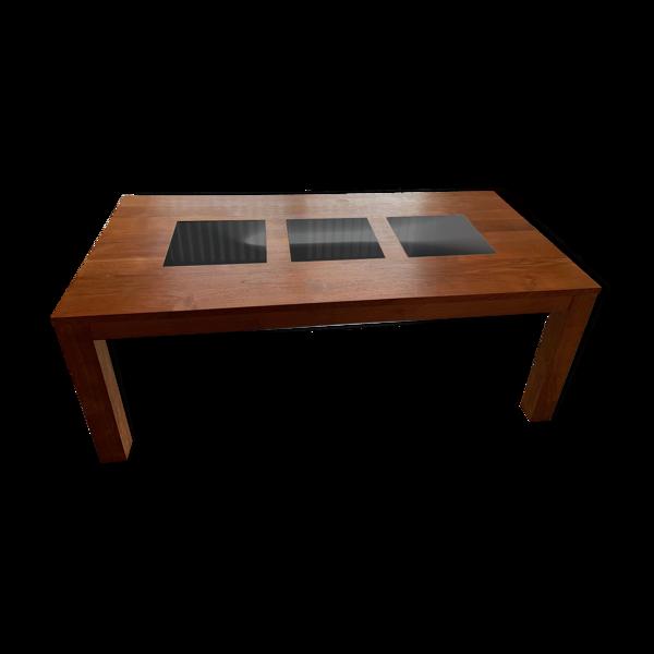 Table en teck massif et marbre