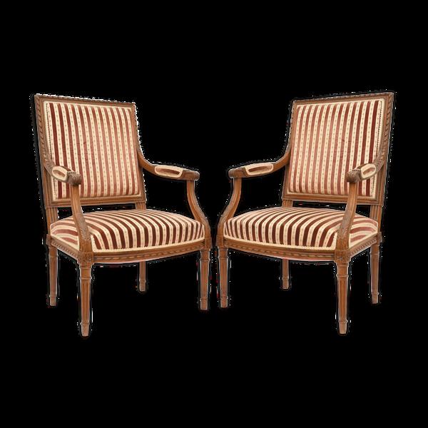 Selency Paire de fauteuils cabriolet de style Louis XVI