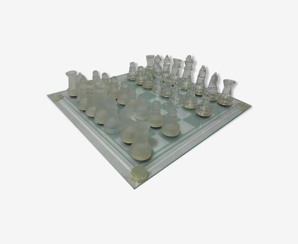 Jeux echecs lf en verre clair et givre design vintage