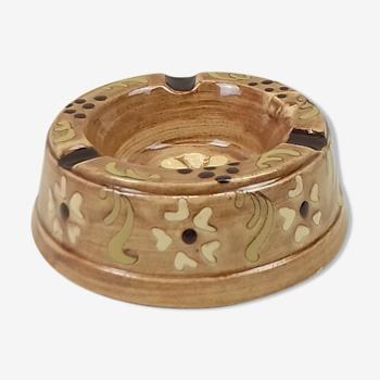 Cendrier forme cône et retrécie céramique brun diamètre 13.5cm