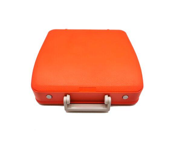 Machine à écrire rouge orange Hermes Baby révisée ruban neuf