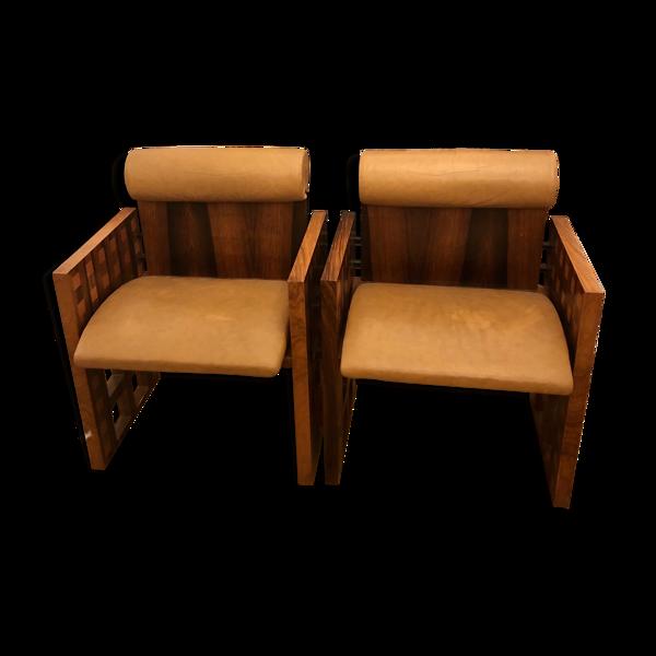 Paire de fauteuils Mobil Girgi bois et cuir