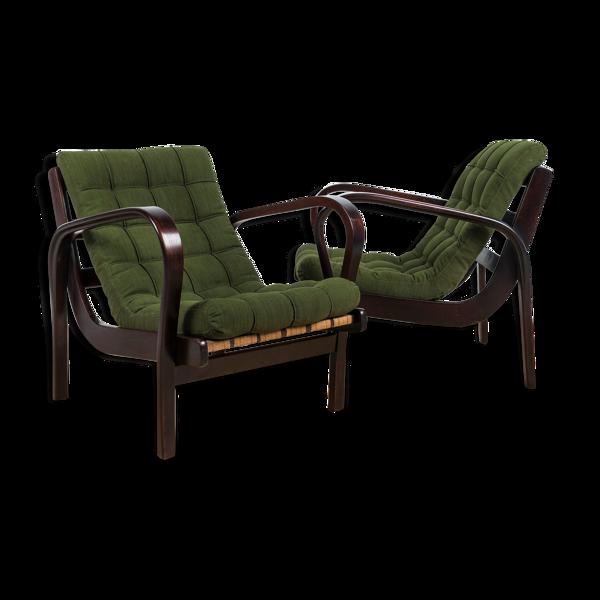 Ensemble de 2 fauteuils par K. Kozelka & A. Kropacek, années 40