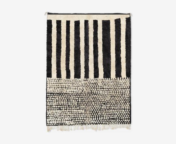 Tapis marocain moderne blanc art contemporain 150x180cm