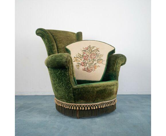Set salon canapé 2 fauteuils velours boisannées 50