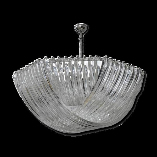 Lustre en cristal courbé Murano