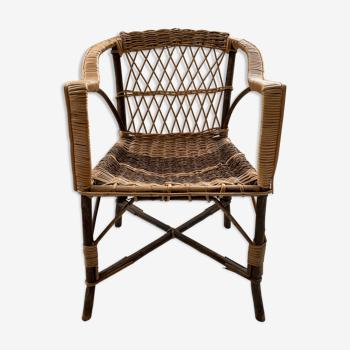Chaise corde osier et bois populaire