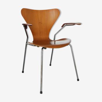 Fauteuil teck 3270 série papillon Arne Jacobsen pour Fritz Hansen, vintage 1964