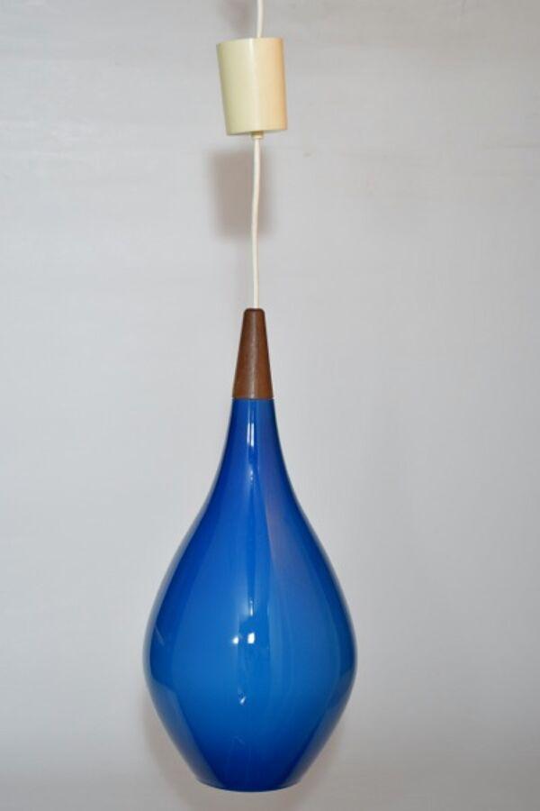 Suspension Holmegaard  grand modele en verre soufflé bleu et teck, Danemark, Poulsen