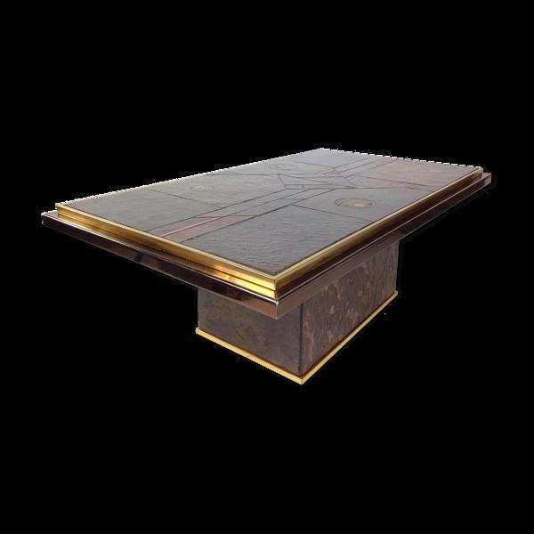 Selency Table basse brutaliste années 70 en laiton, bronze et pierre