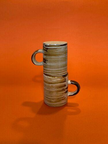 Paire de tasses en céramique vintage motif irisé