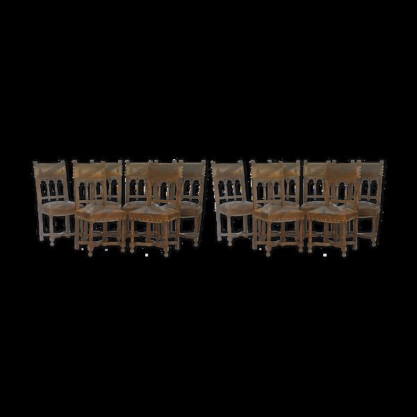 Selency Série de 12 chaises de style Henri II