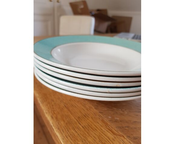 Lot de 6 assiettes creuses vert or
