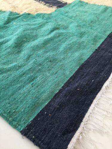 Tapis Kilim berbère marocain écru à aplats colorés 254x146cm