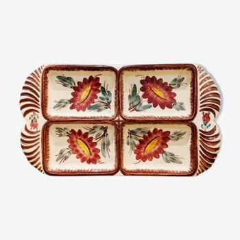 Plat à crudités en céramique, décor à la main, vintage
