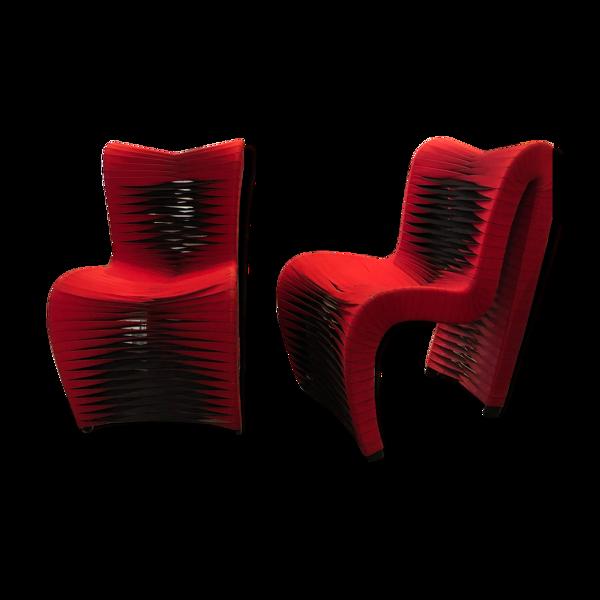 Selency Paire fauteuils design vintage rouge noir sanglé
