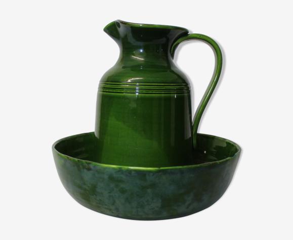 Broc et sa bassine en céramique verts