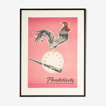 Affiche des années 50 «Pünktlich»,  Grave Schmandt