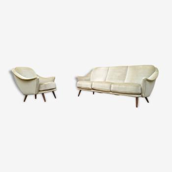Set canapé / 1 fauteuil année 50 60 dans son jus