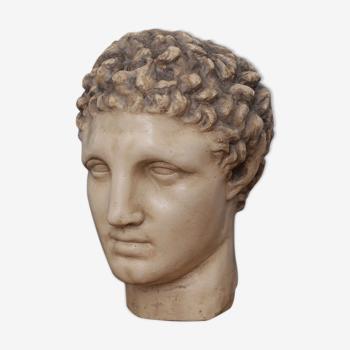 Tête grecque en plâtre ciré