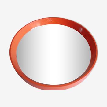 Miroir circulaire orange vintage 40 cm