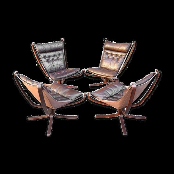 Selency Ensemble de 4 fauteuils Sigurd Ressel Falcon circa 1960