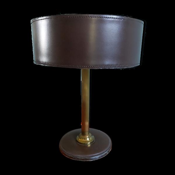 Lampe de bureau en cuir marron et laiton, années 70