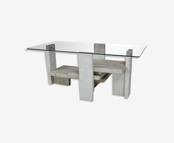 Table basse en travertin et verre design Willy Ballez