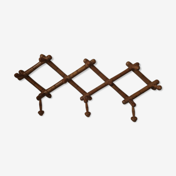 Vintage wooden accordion coat rack 10 hooks
