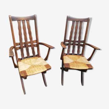 Pair of adjustable vintage armchairs wood and straw
