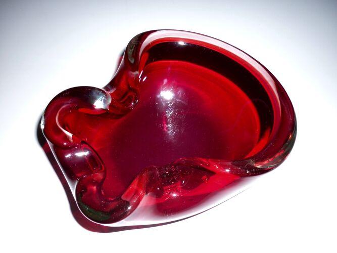 Cendrier de Murano rouge rubis et transparent