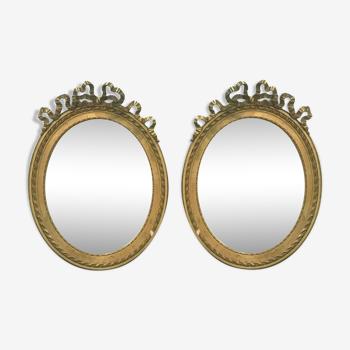 Miroirs de style louis xvi en bois et stuc dorés xx siècle